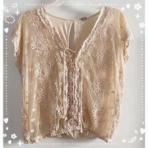 Gimmicks by BKE lacy embroidered top, cream